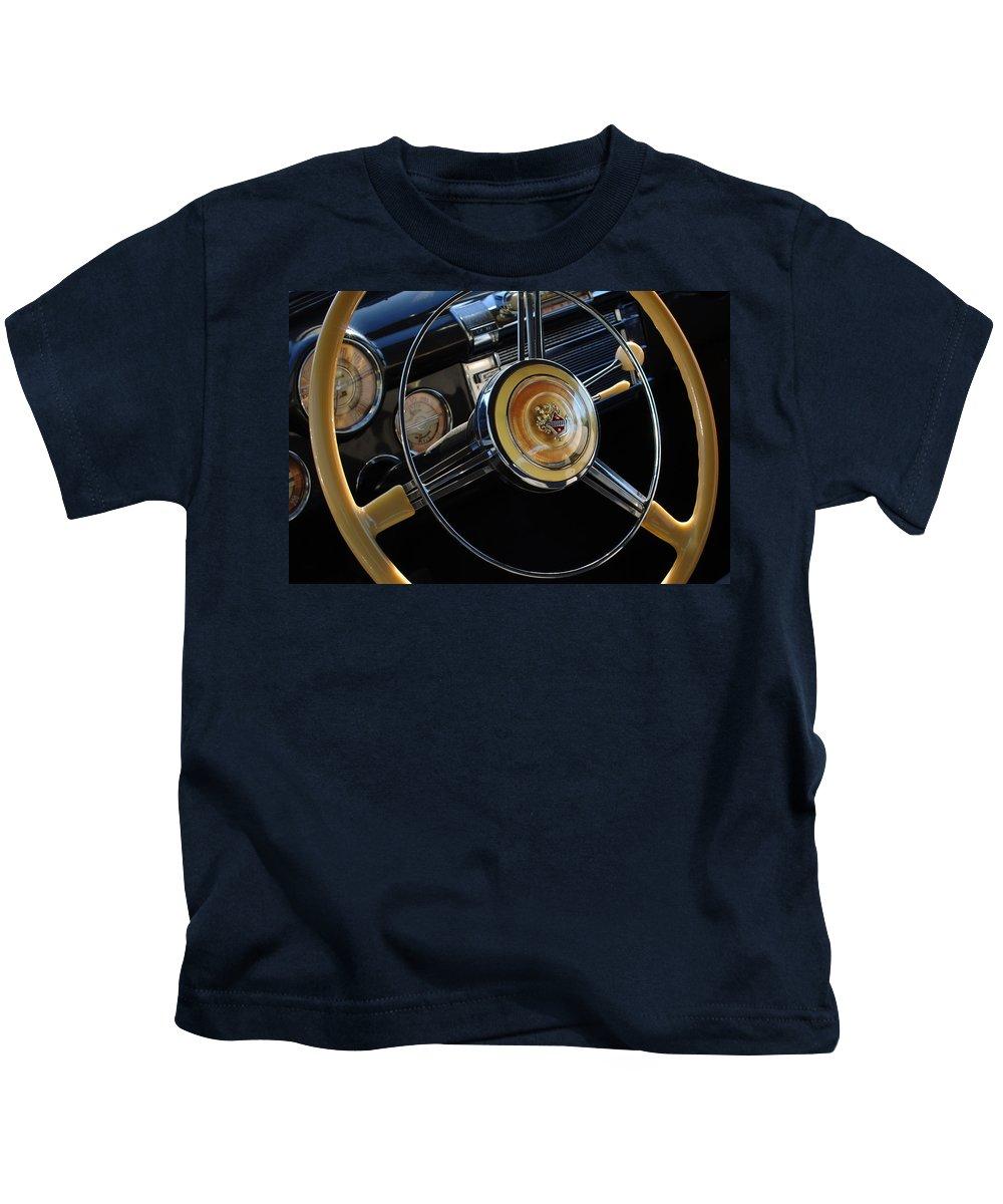 Car Kids T-Shirt featuring the photograph 1947 Buick Eight Super Steering Wheel by Jill Reger