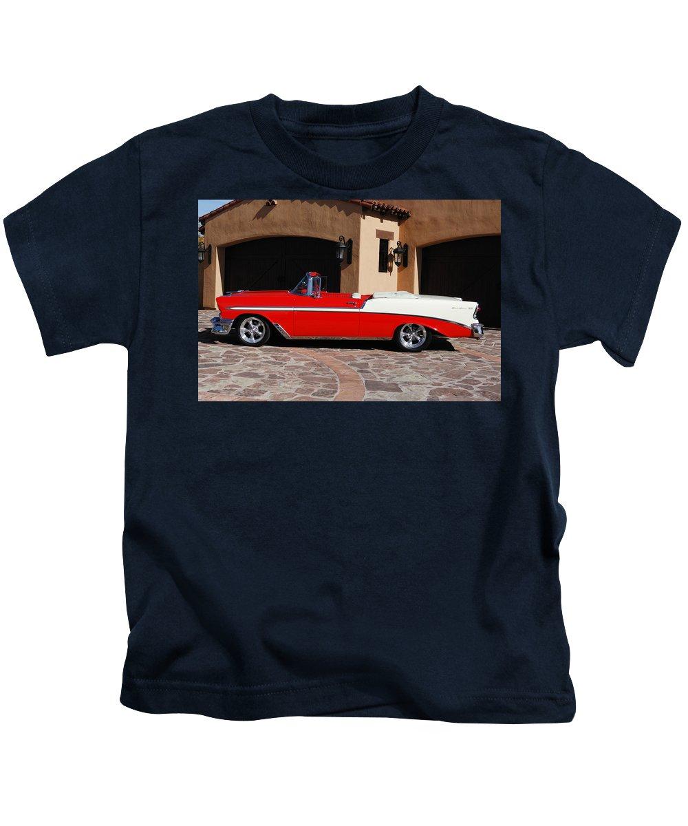 Car Kids T-Shirt featuring the photograph 1956 Chevrolet Belair Convertible by Jill Reger