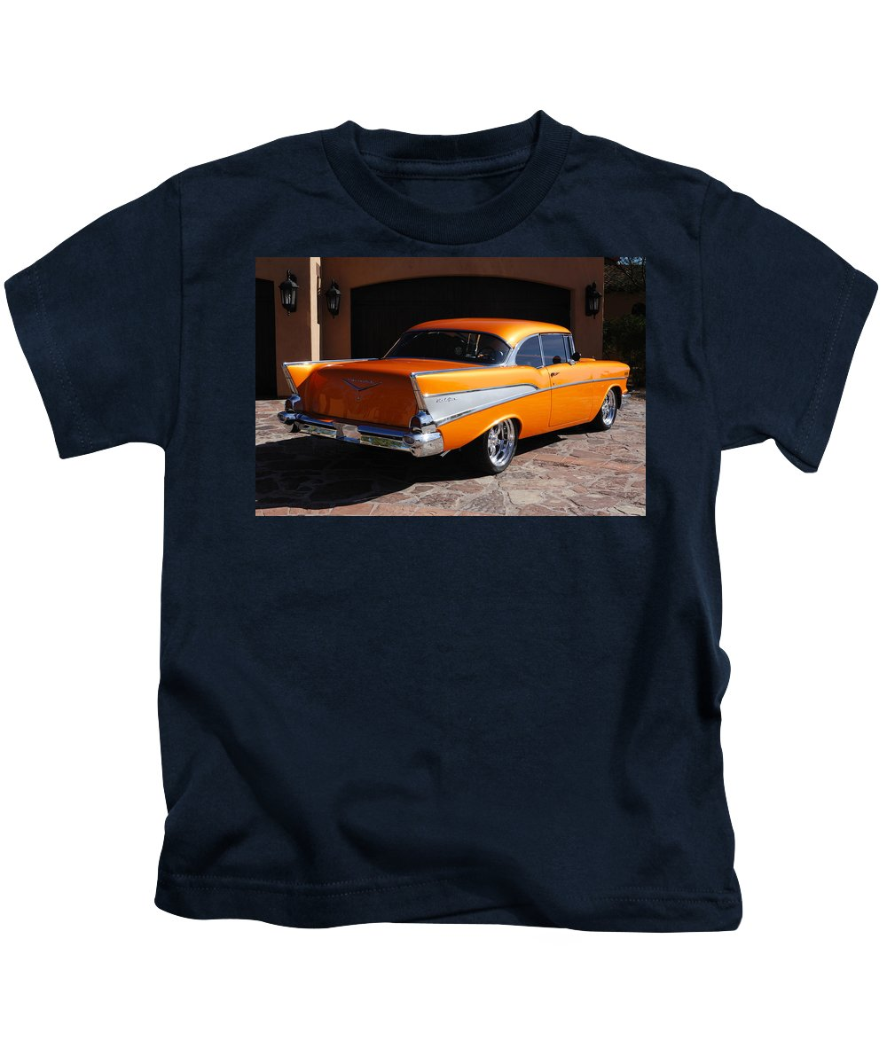 Car Kids T-Shirt featuring the photograph 1957 Chevrolet Belair Coupe by Jill Reger