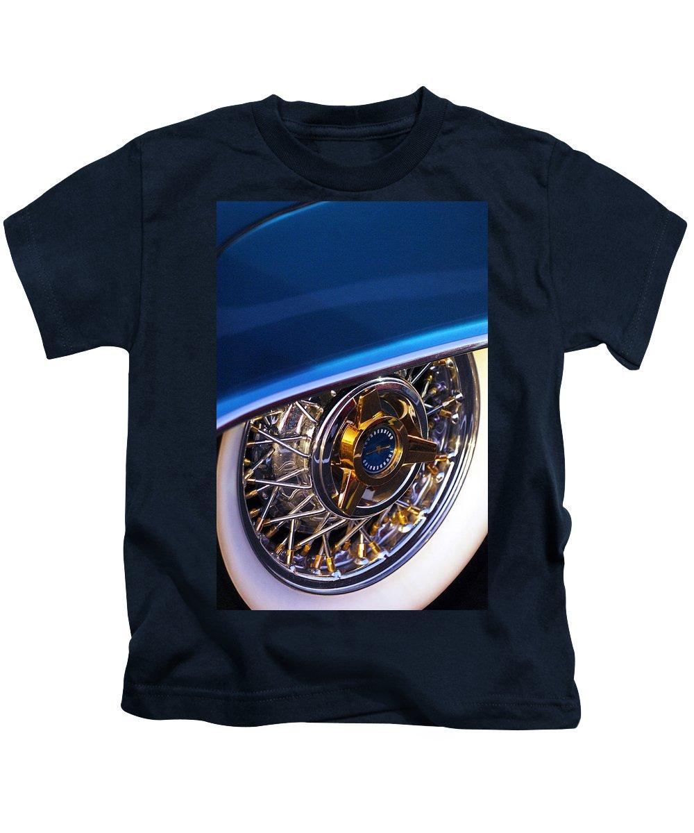 Car Kids T-Shirt featuring the photograph 1957 Ford Thunderbird Wheel by Jill Reger
