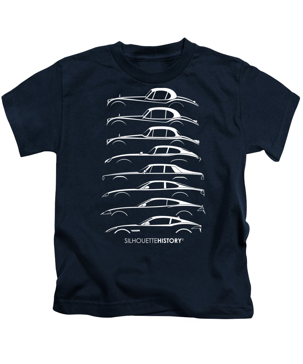 Sports Cars Kids T-Shirt featuring the digital art Big Cat Coupe Silhouettehistory by Gabor Vida