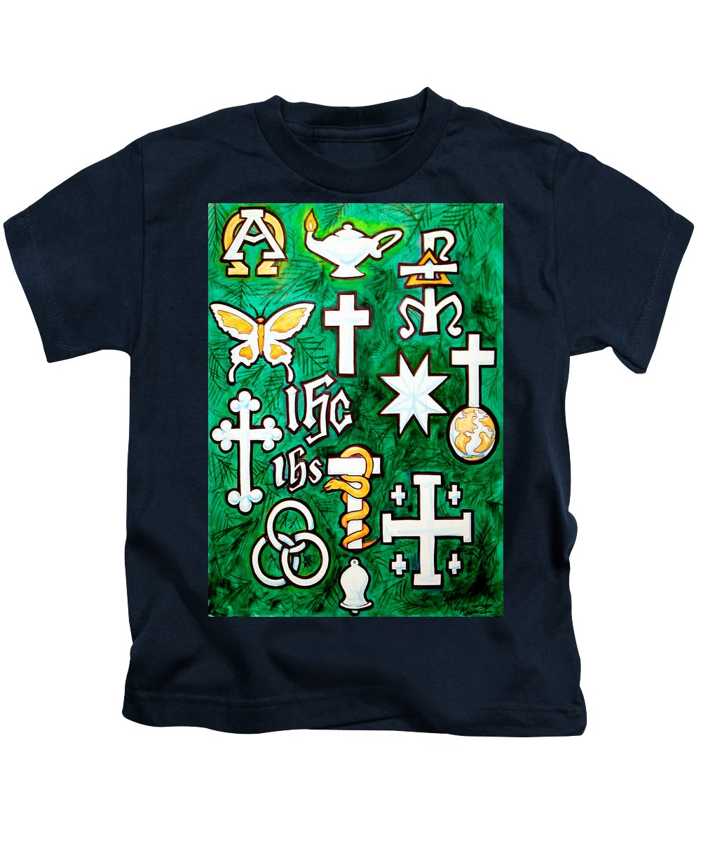 Chrismons Kids T-Shirt featuring the painting Chrismons by Kevin Middleton