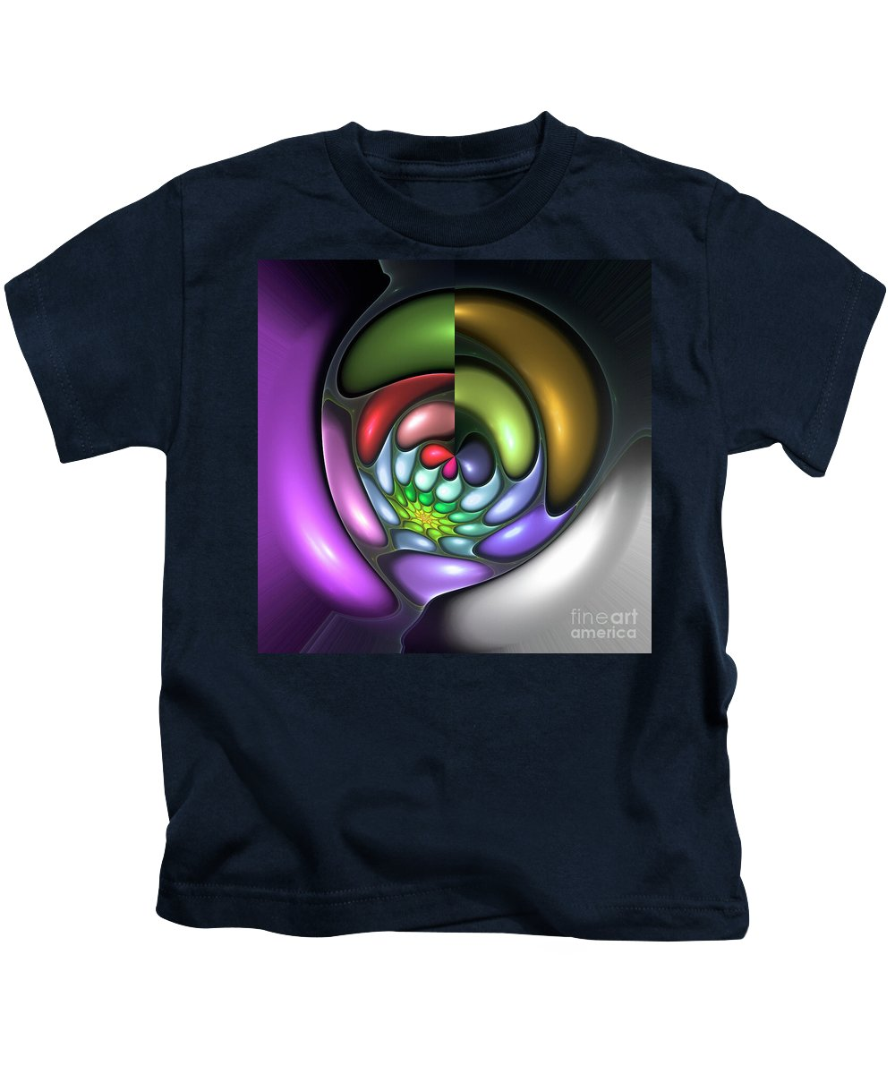 Colorful Abstract Art Design Bubble Flower Spiral Expressionism Color Purple Green Kids T-Shirt featuring the digital art Colorful by Steve K