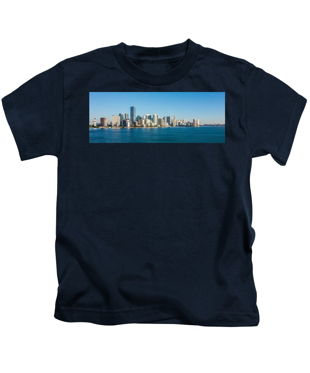 Miami Kids T-Shirt featuring the photograph Miami Florida City Skyline Morning With Blue Sky by Alex Grichenko
