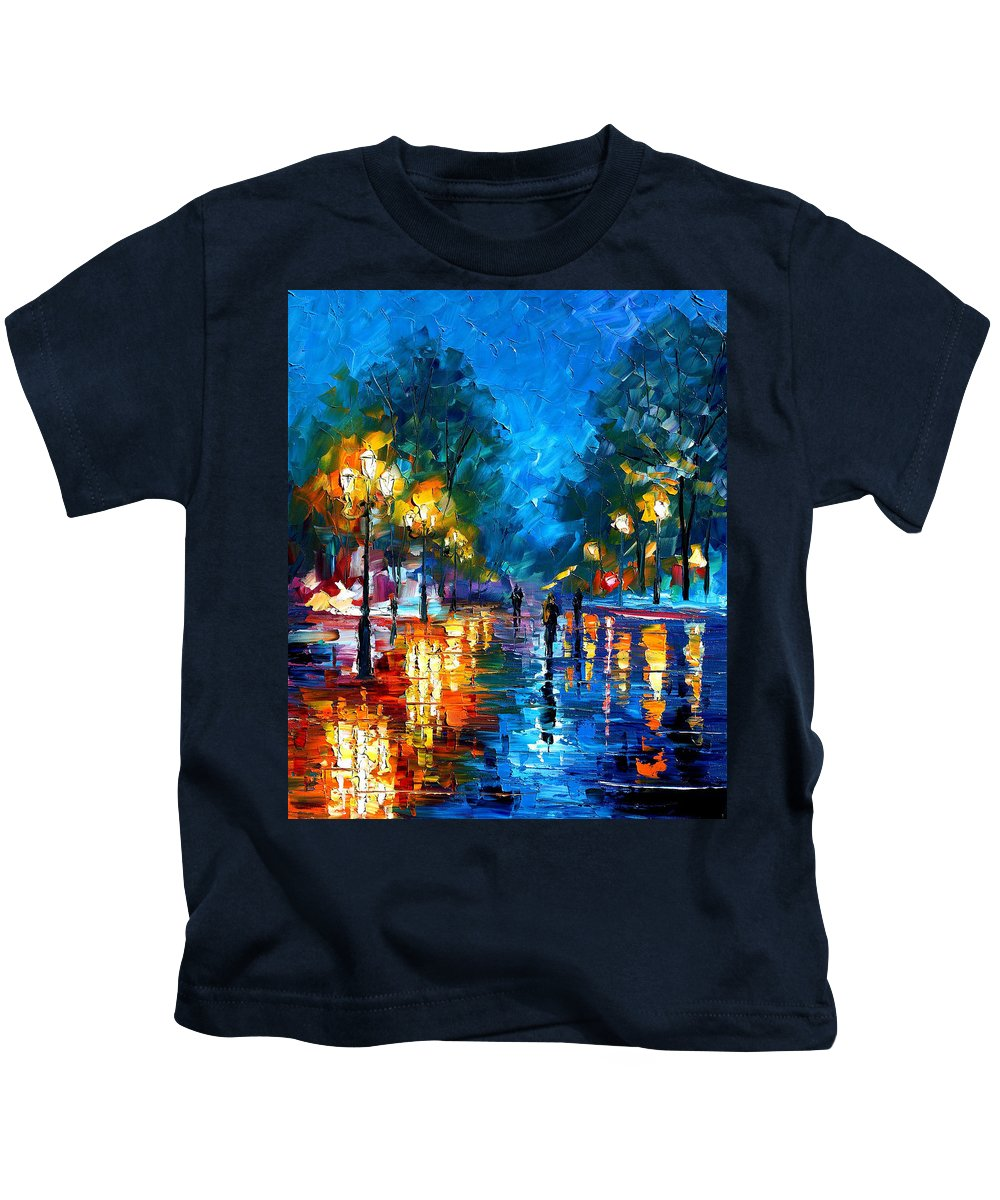 Landscape Kids T-Shirt featuring the painting Night Park by Leonid Afremov