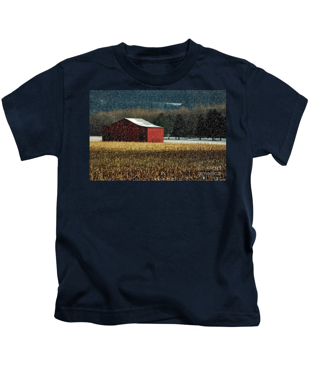 Barn Kids T-Shirt featuring the photograph Snowy Red Barn In Winter by Lois Bryan