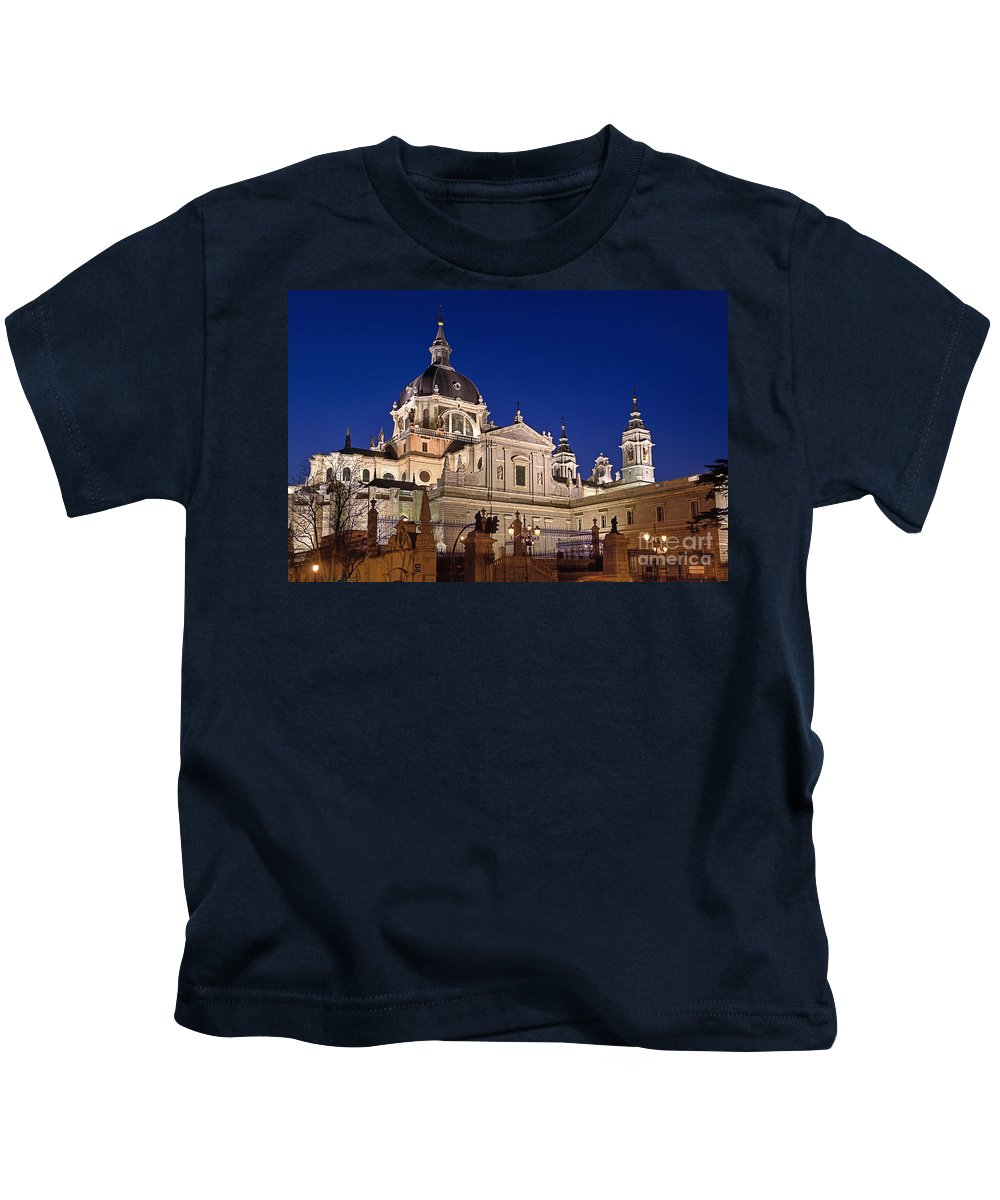 Almudena Kids T-Shirt featuring the photograph The Almudena Cathedral by John Greim