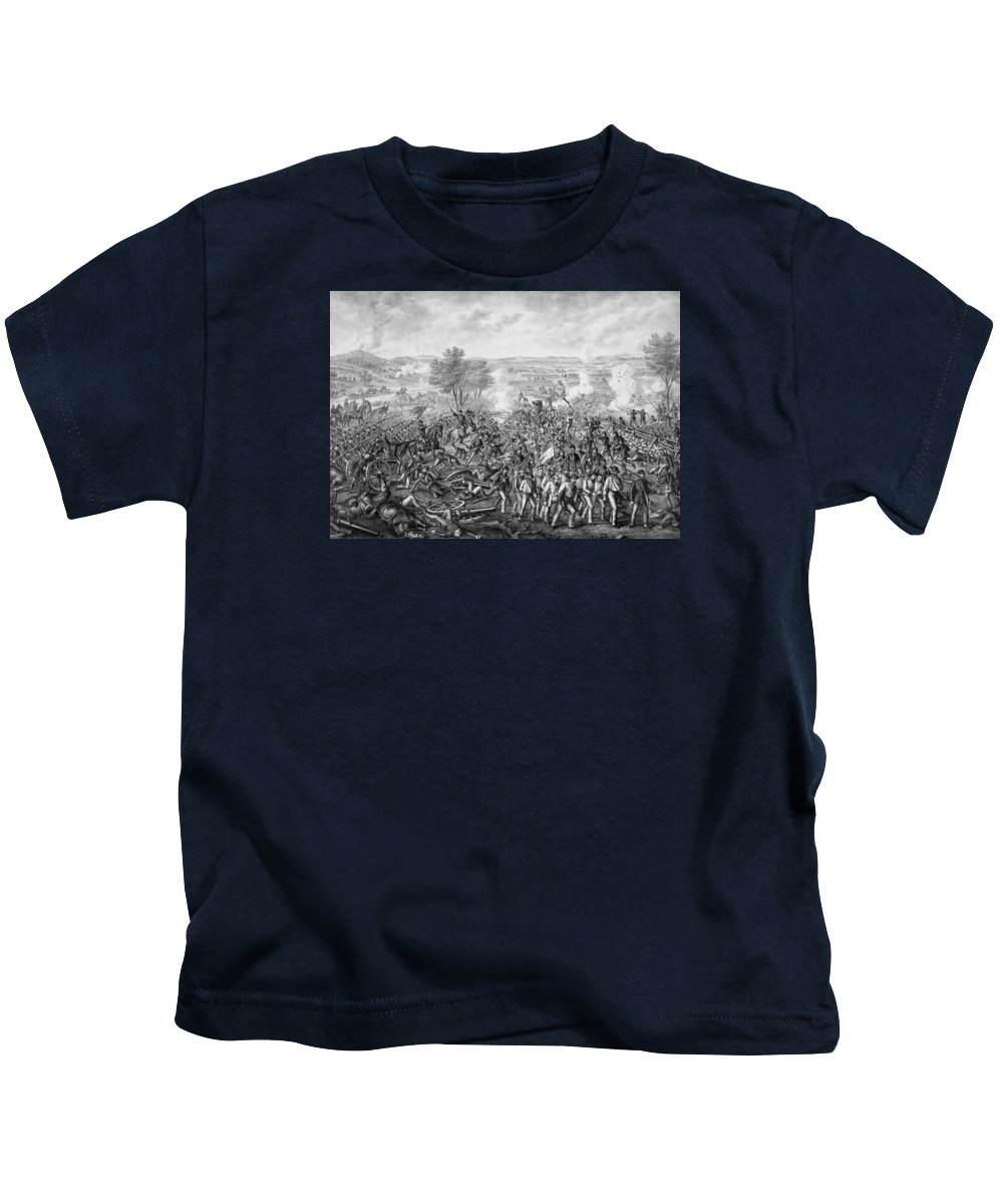 Civil War Kids T-Shirt featuring the mixed media The Battle Of Gettysburg by War Is Hell Store