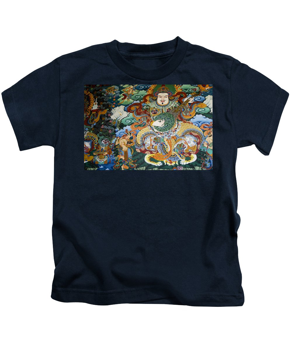 Asia Kids T-Shirt featuring the photograph Tibetan Buddhist Mural by Michele Burgess