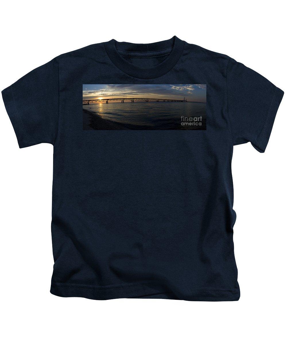 Mackinaw Kids T-Shirt featuring the photograph Mackinac Bridge by Tara Lynn