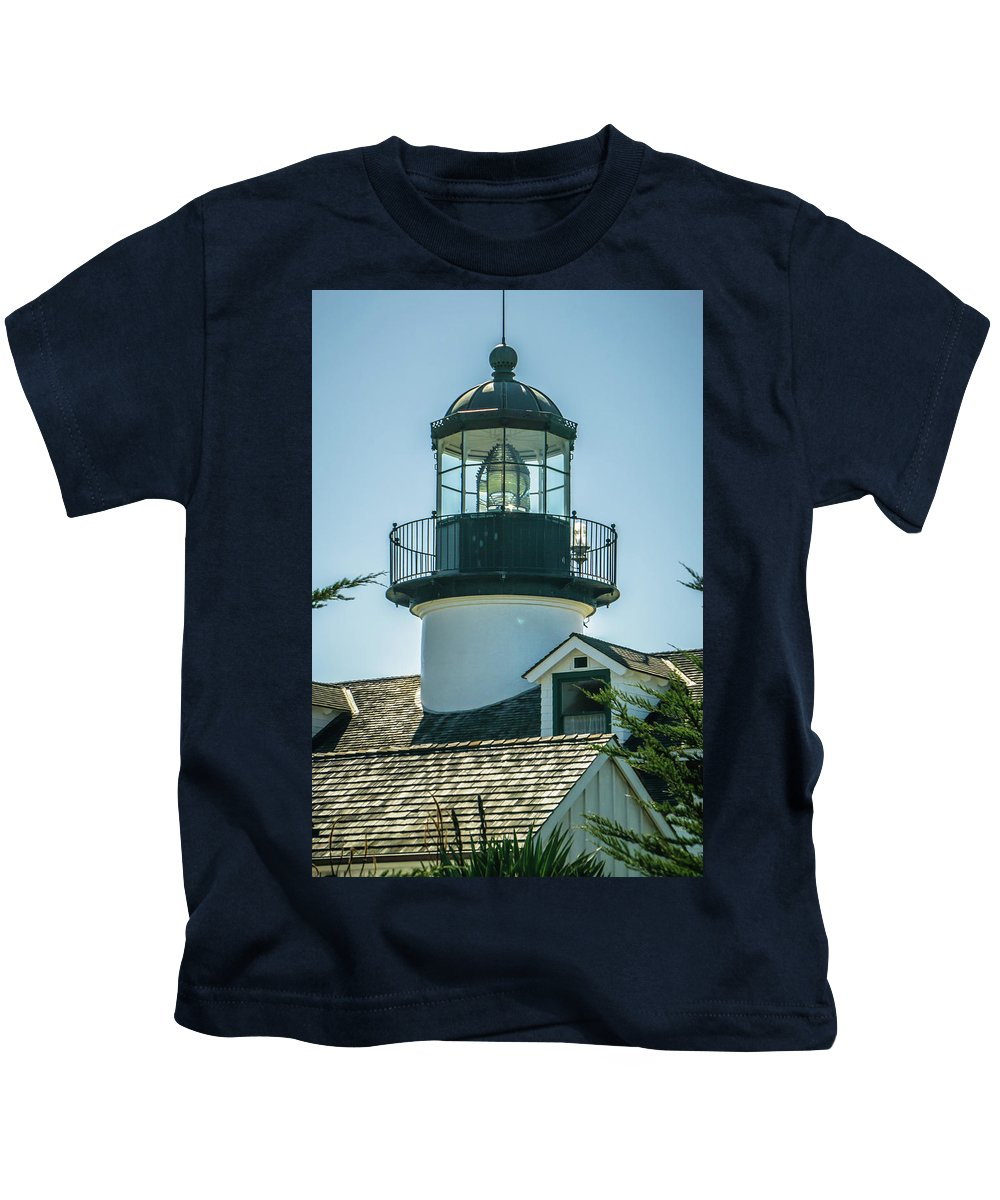 Light Kids T-Shirt featuring the photograph Point Pinos Lighthouse In Monterey California by Alex Grichenko