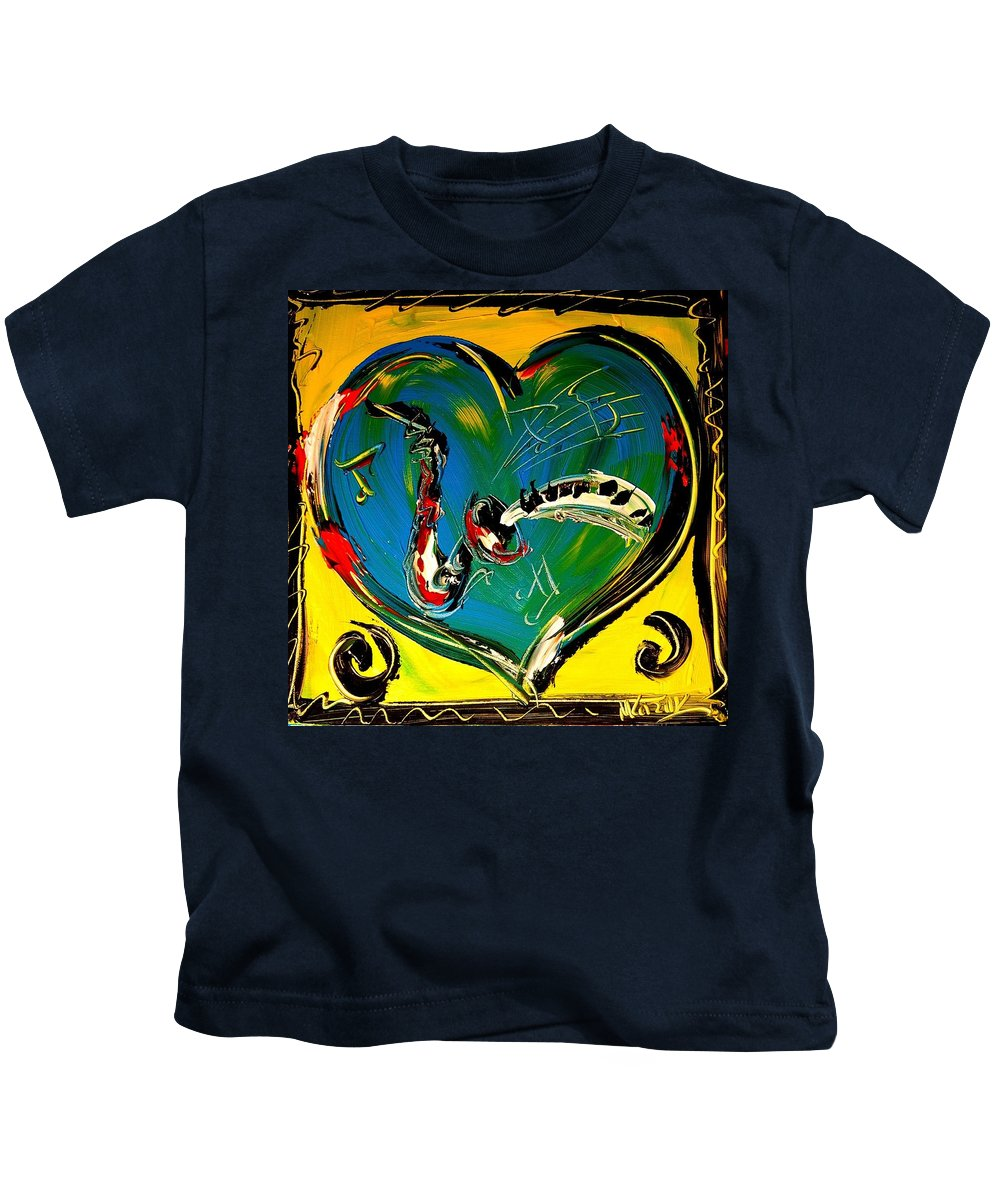 Red Poppies Kids T-Shirt featuring the painting Hearts by Mark Kazav