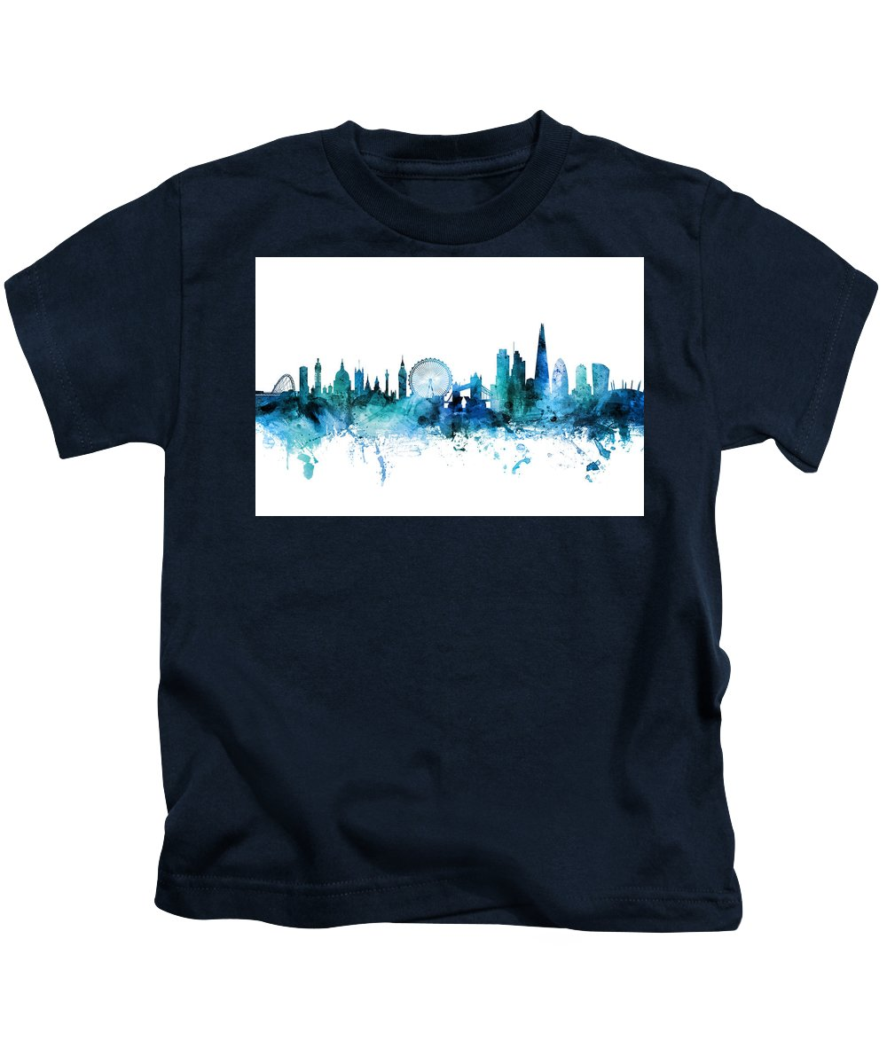 London Kids T-Shirt featuring the digital art London England Skyline by Michael Tompsett