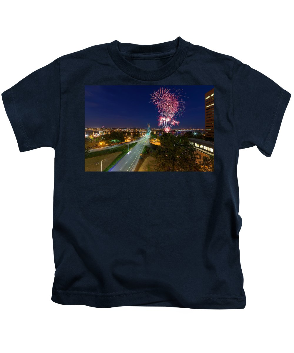 4th Of July Kids T-Shirt featuring the photograph 4th Of July Fireworks Portland Oregon by Jit Lim