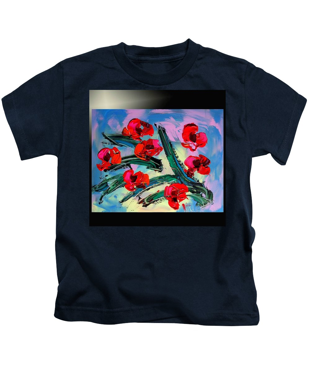 Red Poppies Kids T-Shirt featuring the painting Flowers by Mark Kazav