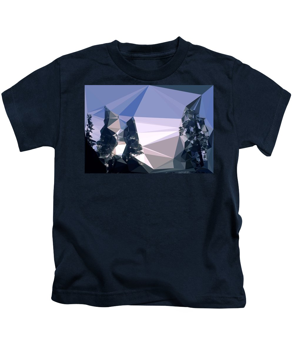 Abstract Art Kids T-Shirt featuring the digital art Abstract Art Landscape Of Triangles by Elena Kosvincheva