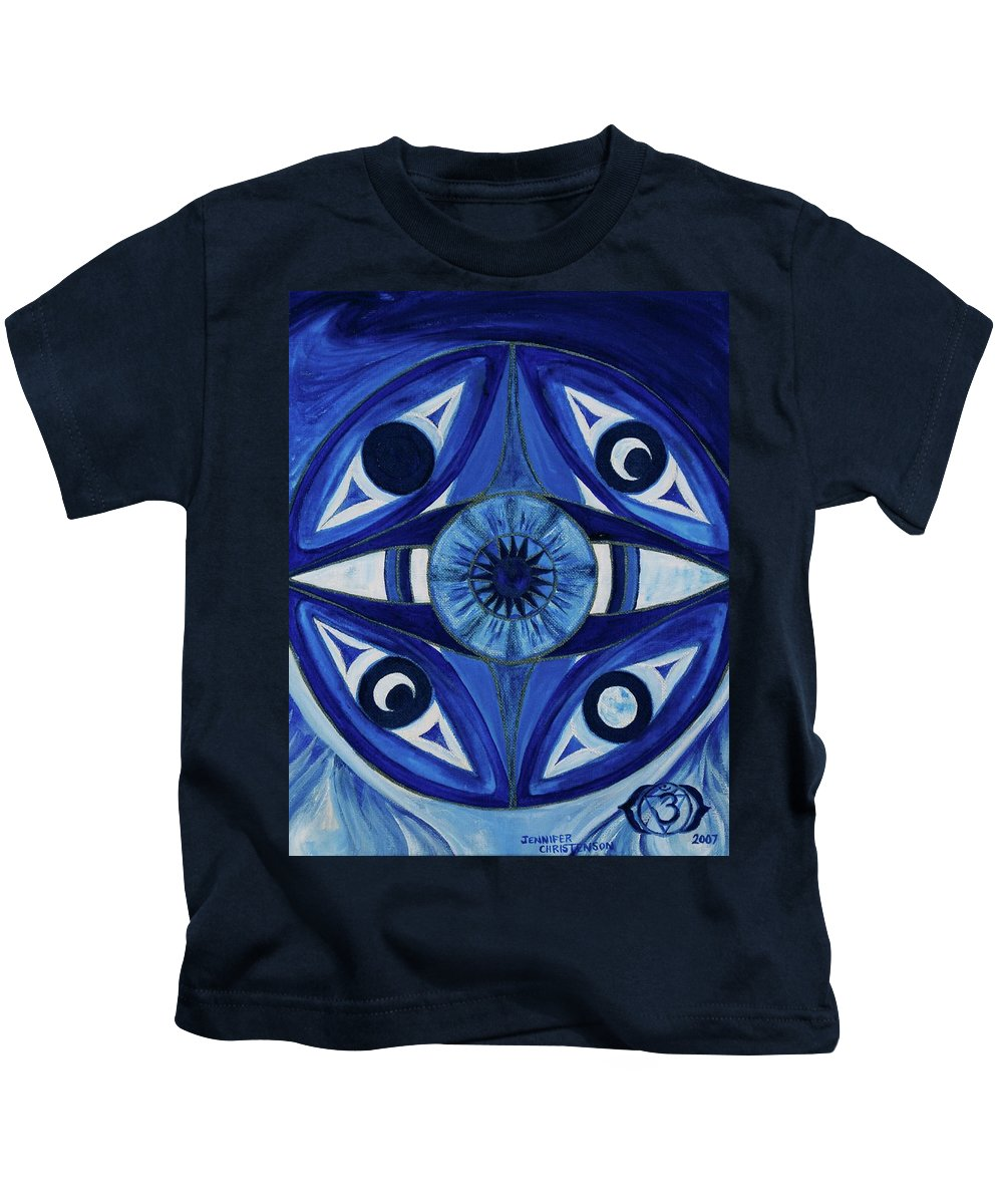 Mandala Kids T-Shirt featuring the painting 6th Mandala - Third Eye Chakra by Jennifer Christenson