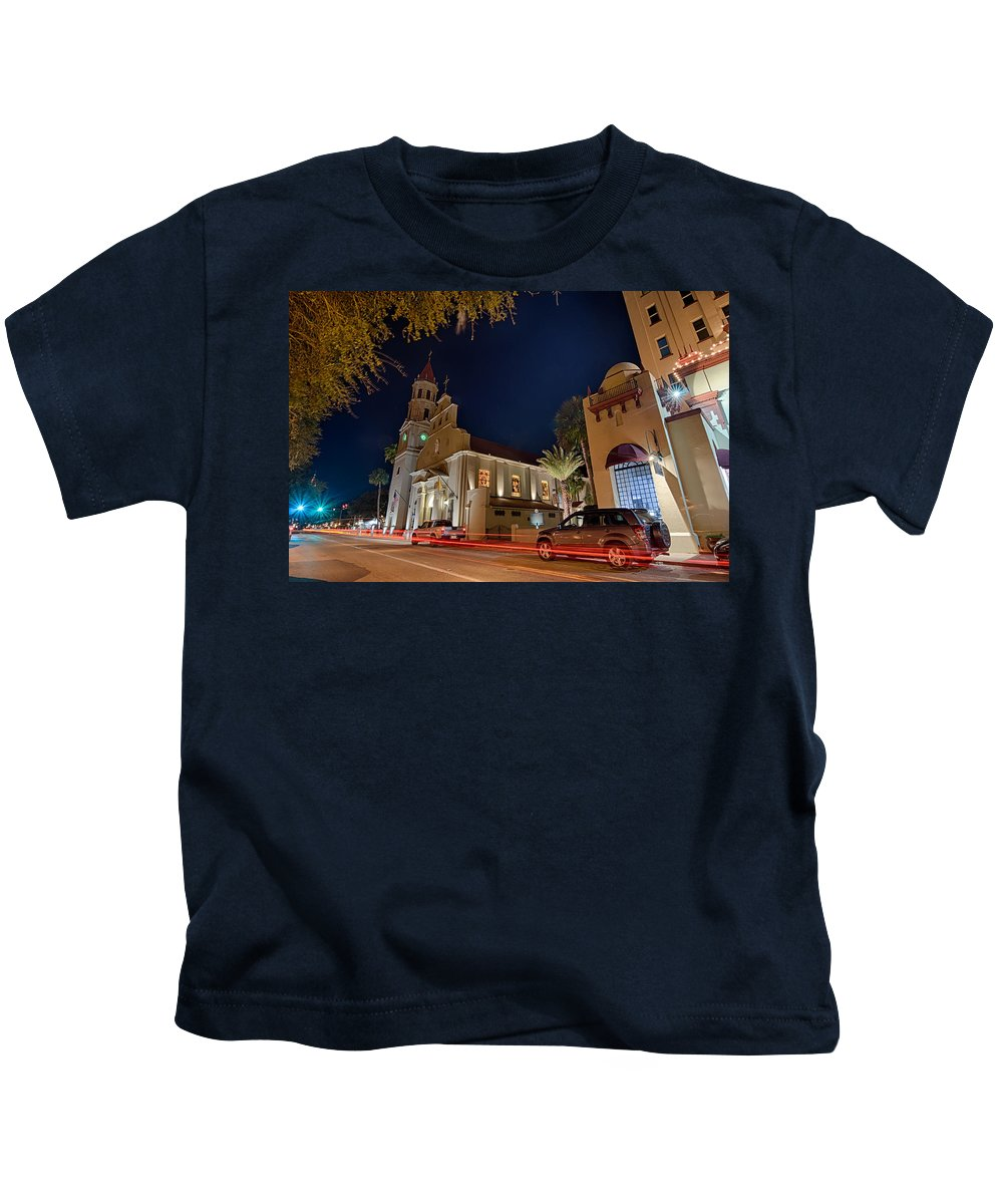 Florida Kids T-Shirt featuring the photograph St Augustine City Street Scenes Atnight by Alex Grichenko