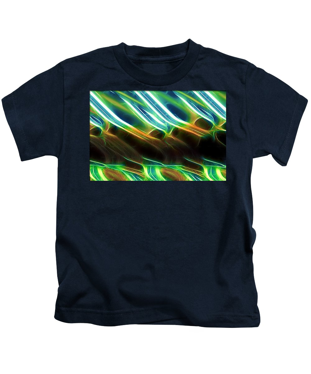 Abstract Green Blue Brown Yellow White Kids T-Shirt featuring the digital art Abstract by Galeria Trompiz