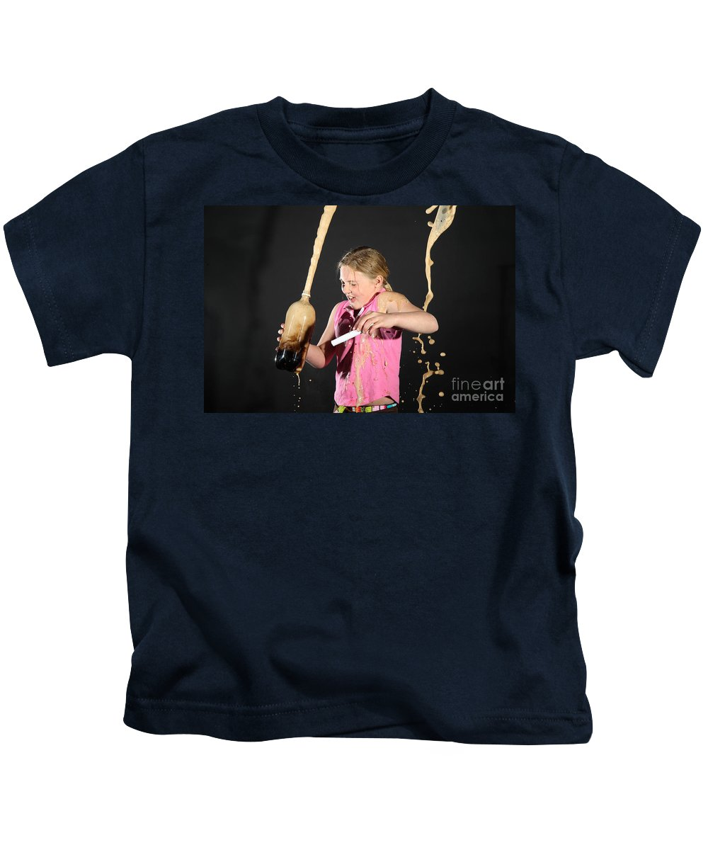 Mentos Kids T-Shirt featuring the photograph Mentos And Soda Reaction by Ted Kinsman