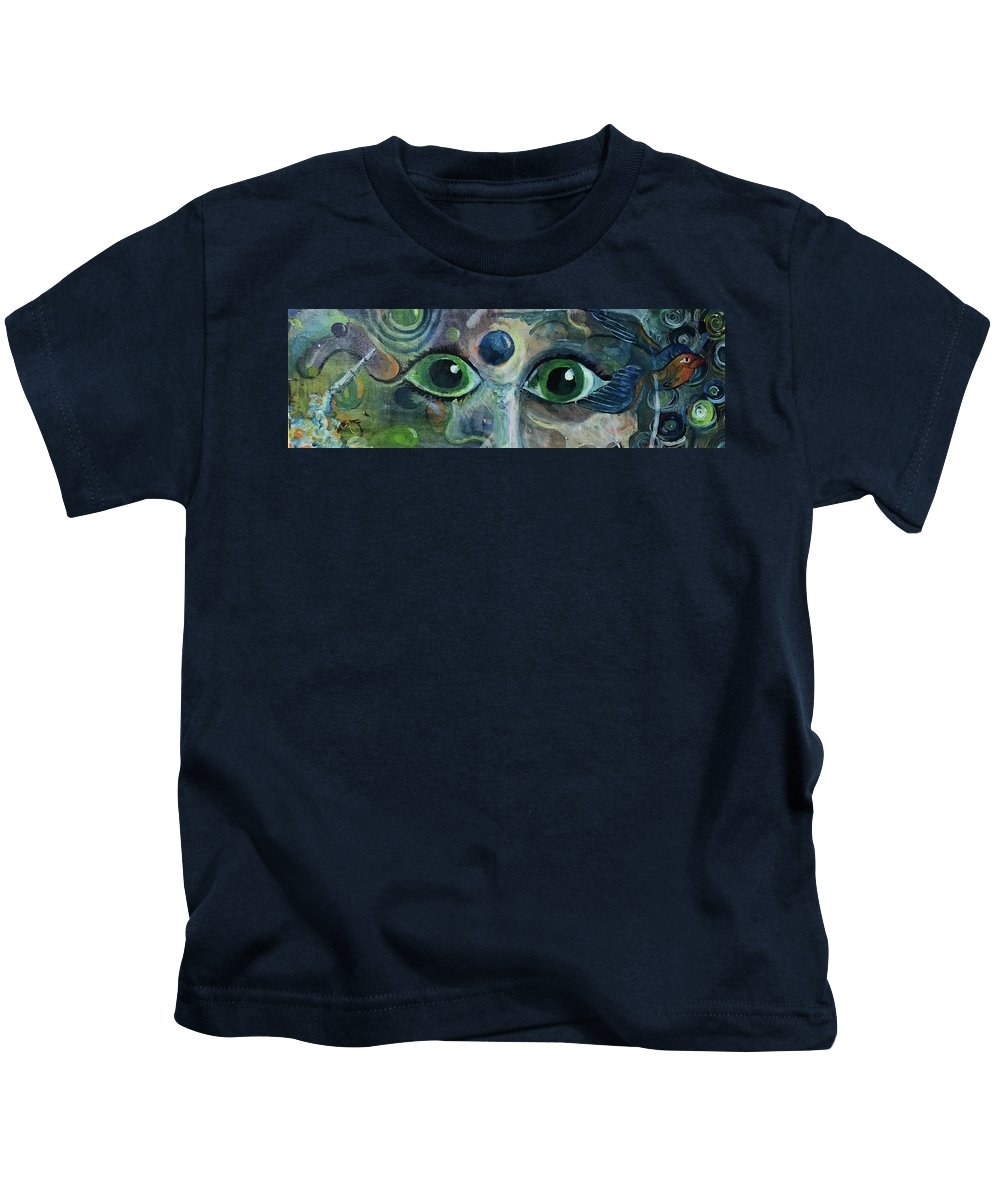 Symbolic Kids T-Shirt featuring the painting A Astronaut Dreams Of Her Infinite Cosmos by Jame Hayes