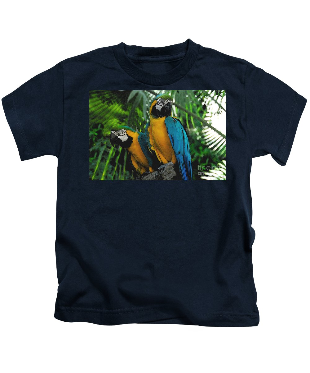 Tropical Kids T-Shirt featuring the painting A Curious Pair by David Lee Thompson
