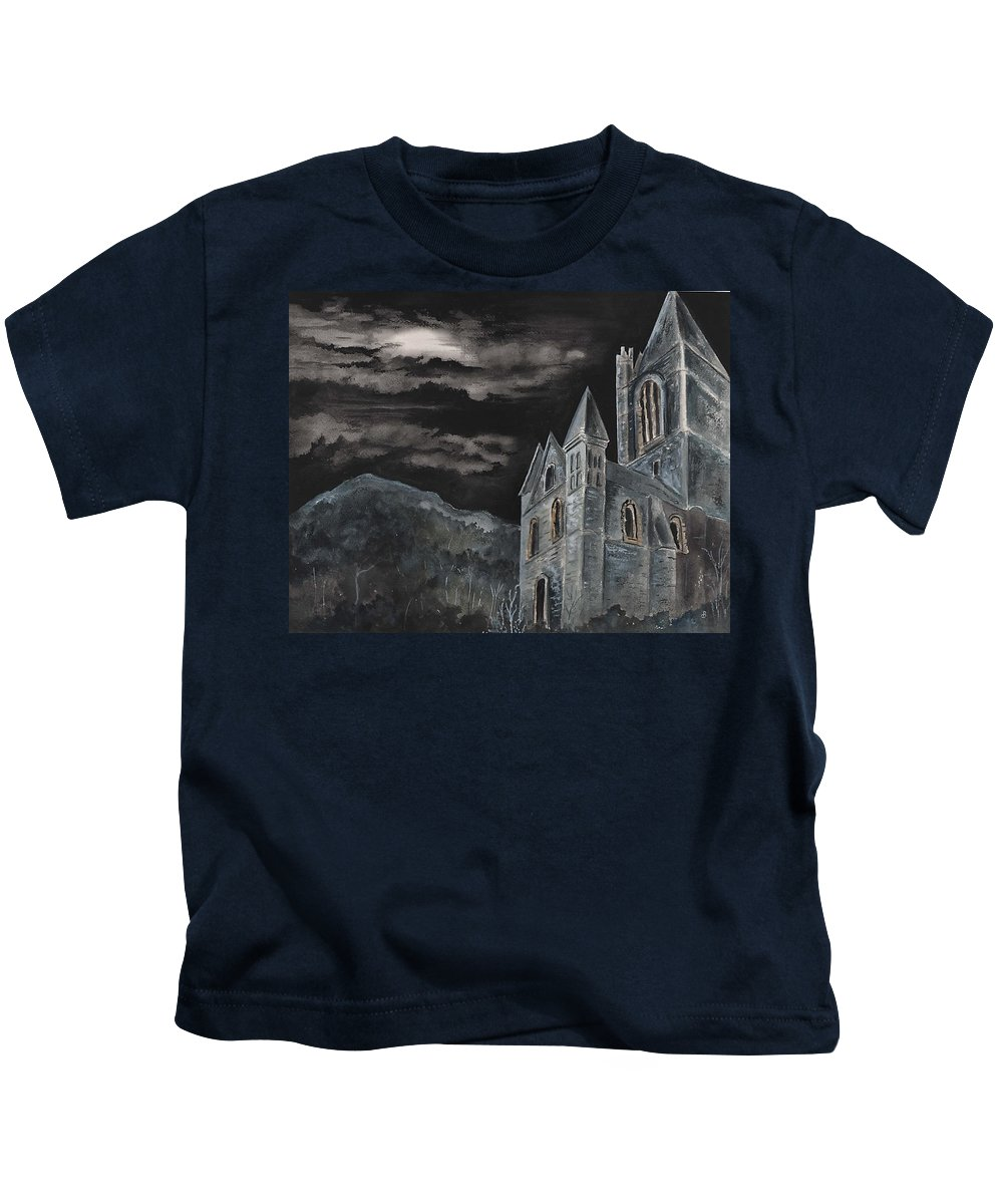 Landscape Gothic House Castle Church Dark Sky Watercolor Kids T-Shirt featuring the painting A Dark Strange Night by Brenda Owen