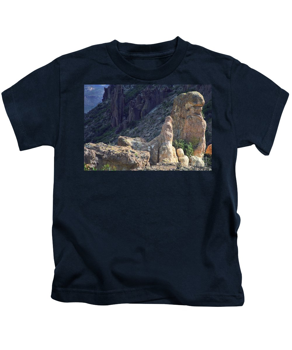 Rock Formations Kids T-Shirt featuring the photograph A Hard Ride by Kathy McClure