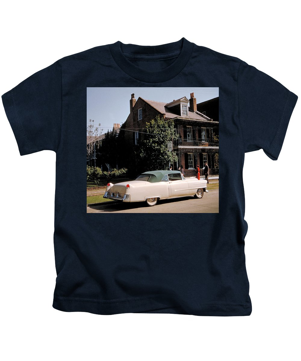 Cadillac Kids T-Shirt featuring the photograph A Hot Date In A Pink Caddy by Jerry McElroy