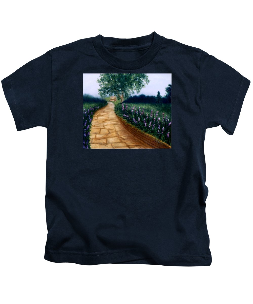 Landscape Kids T-Shirt featuring the painting A Quiet Place by Melissa Joyfully