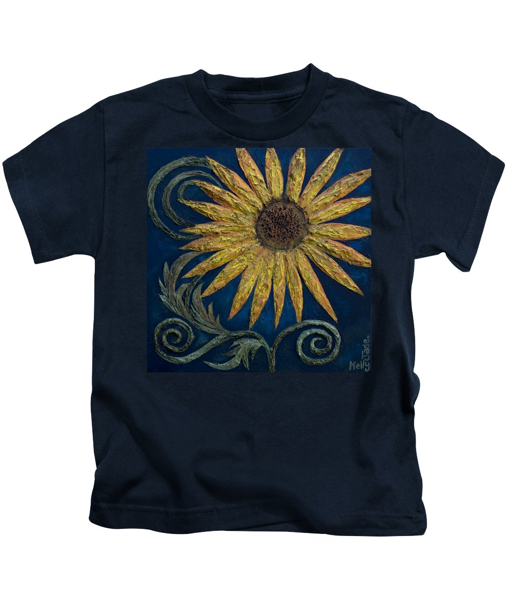 Sunflower Kids T-Shirt featuring the painting A Sunflower by Kelly Jade King
