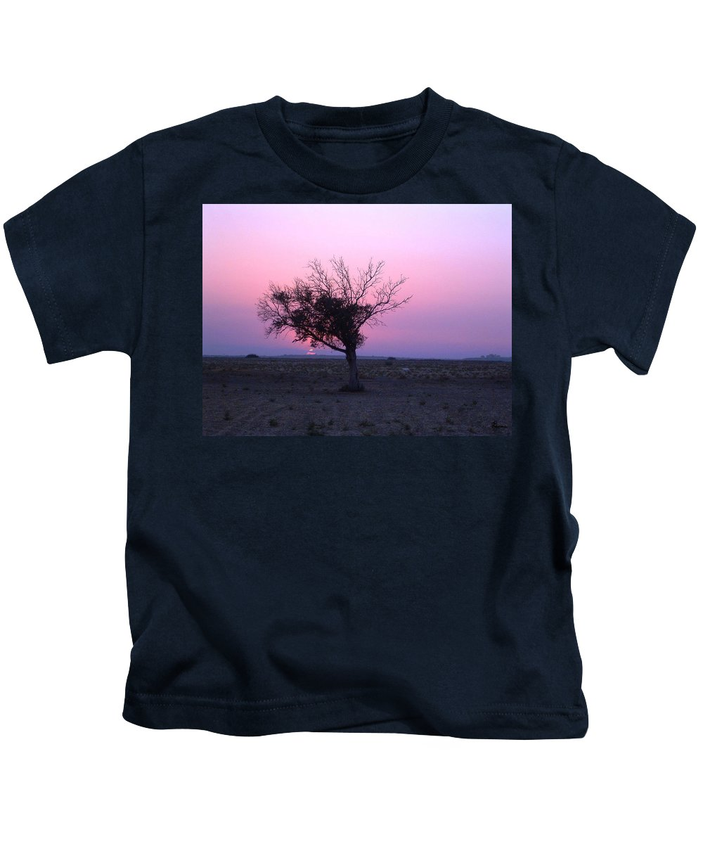Lone Tree Sunset Purple Sky Desert Isolated Lonely Baron Land Kids T-Shirt featuring the photograph A Touch Of Alone by Andrea Lawrence