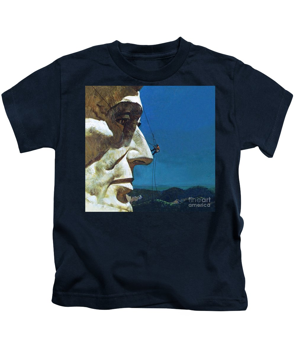 Abraham Lincoln Kids T-Shirt featuring the painting Abraham Lincoln's Nose On The Mount Rushmore National Memorial by English School