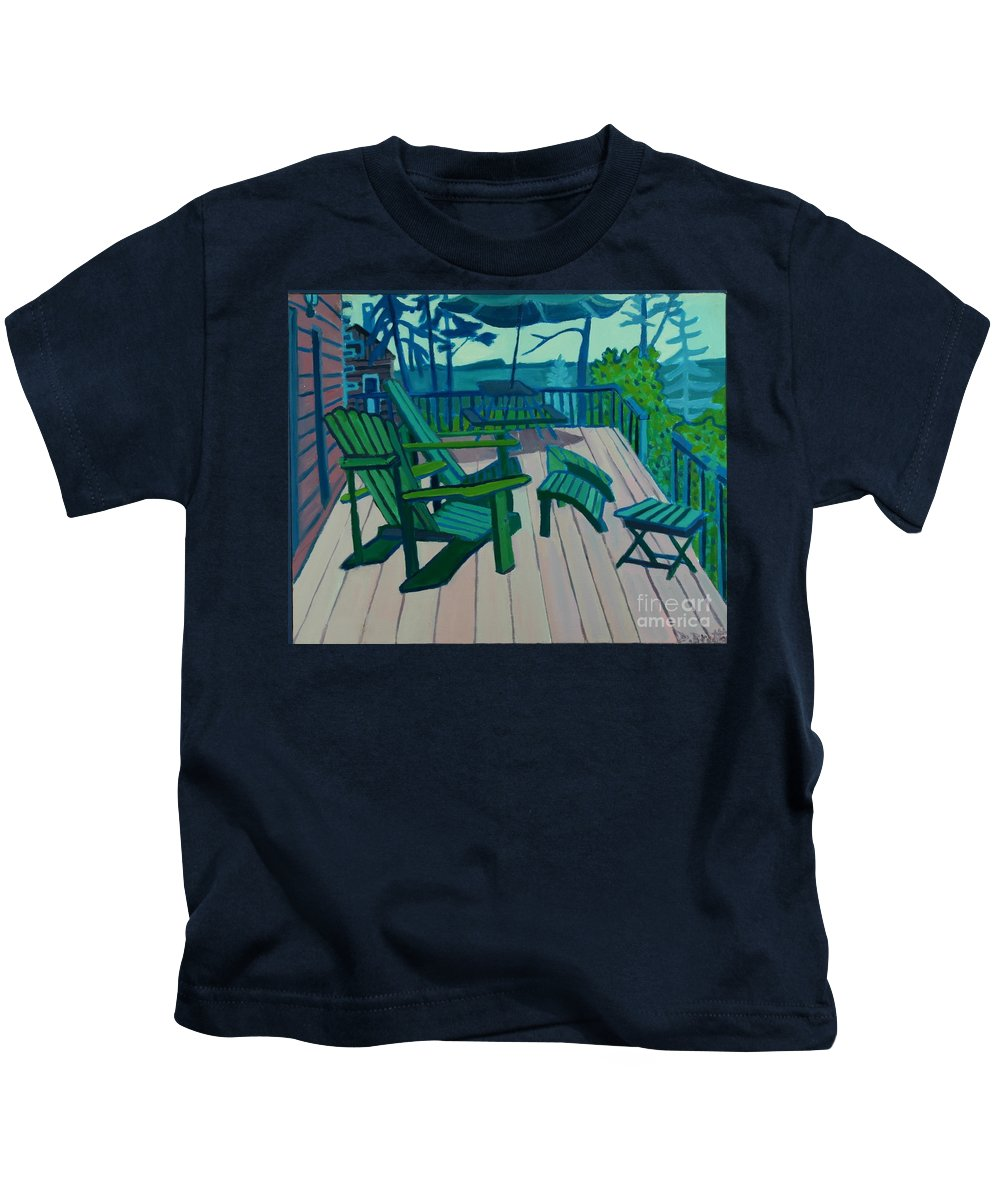 Ocean Kids T-Shirt featuring the painting Adirondack Chairs Maine by Debra Bretton Robinson
