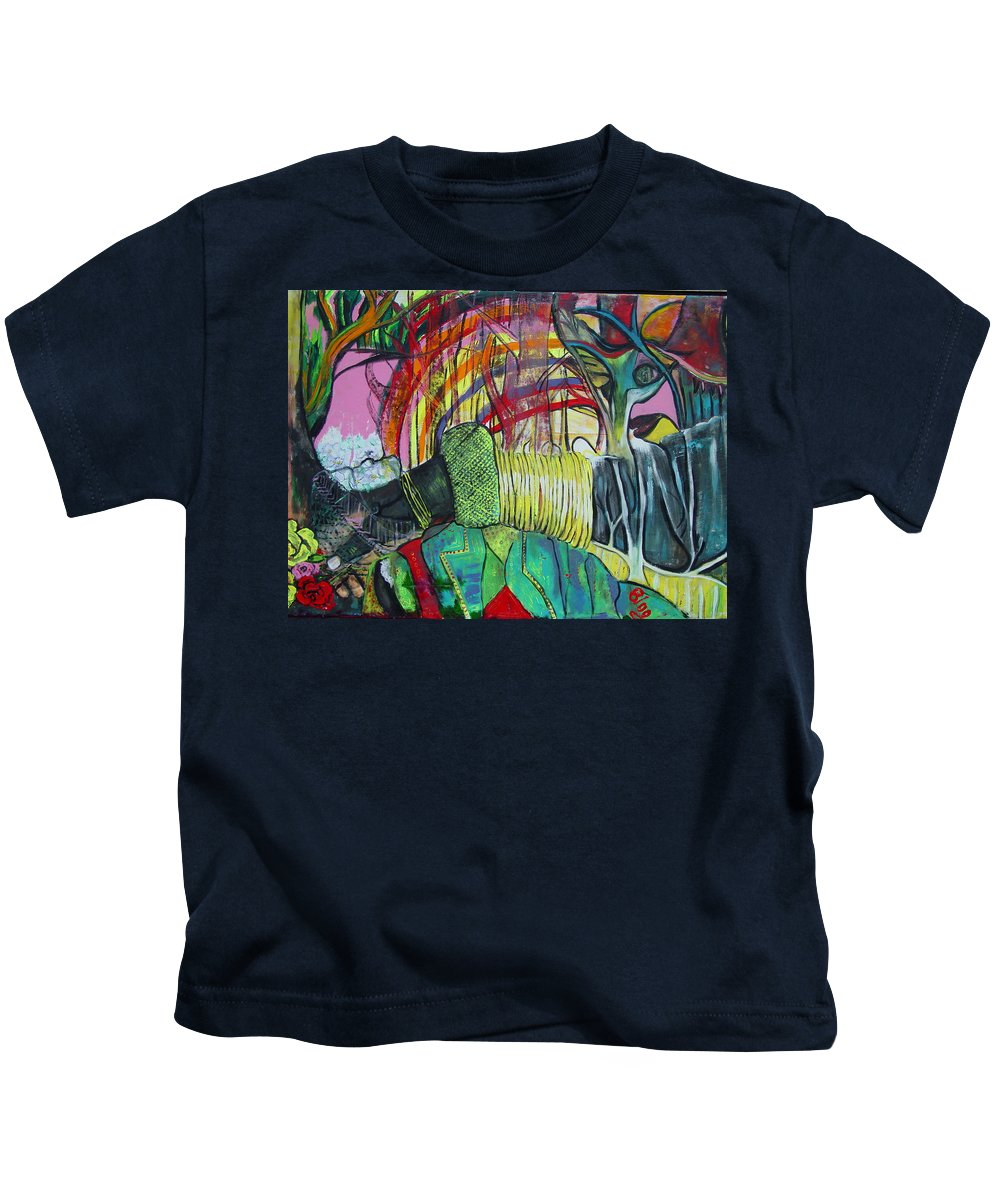 African Lady With Baby Kids T-Shirt featuring the painting African Roots by Peggy Blood