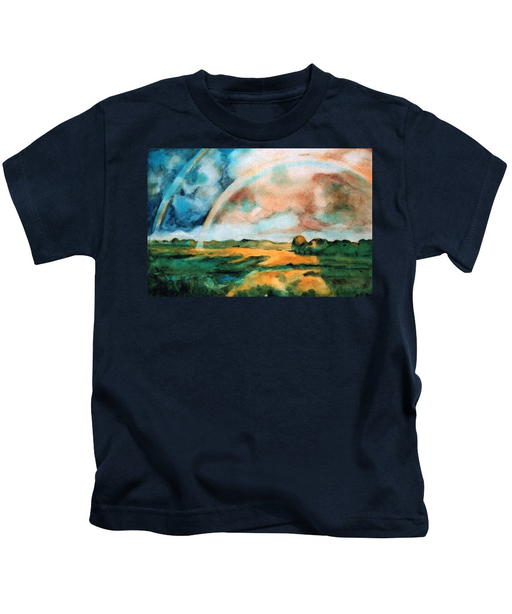 Landscape Kids T-Shirt featuring the painting After The Rain by Iliyan Bozhanov