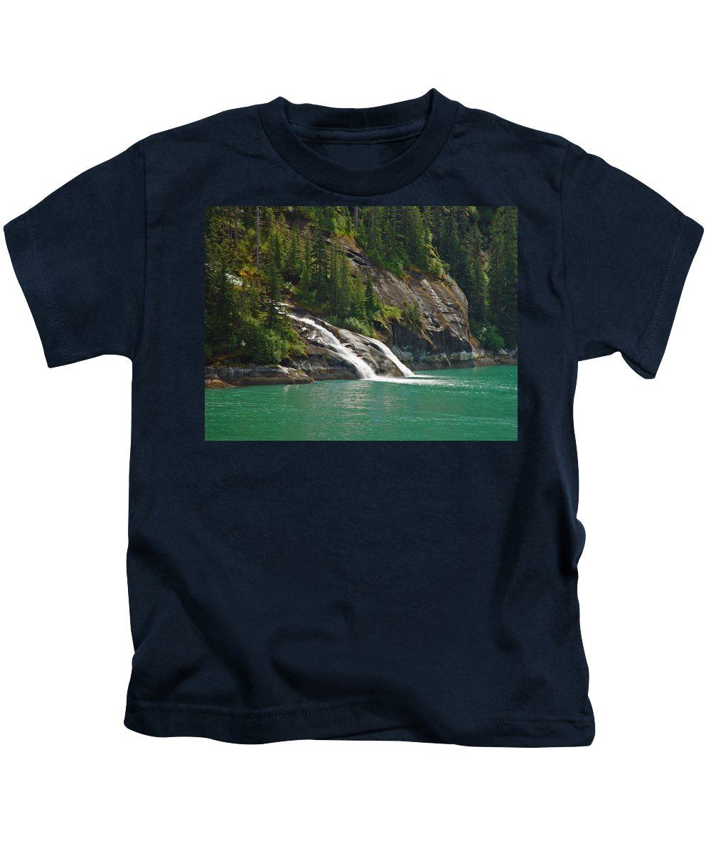Waterfall Kids T-Shirt featuring the photograph Alaska Tracy Arm by Heather Coen