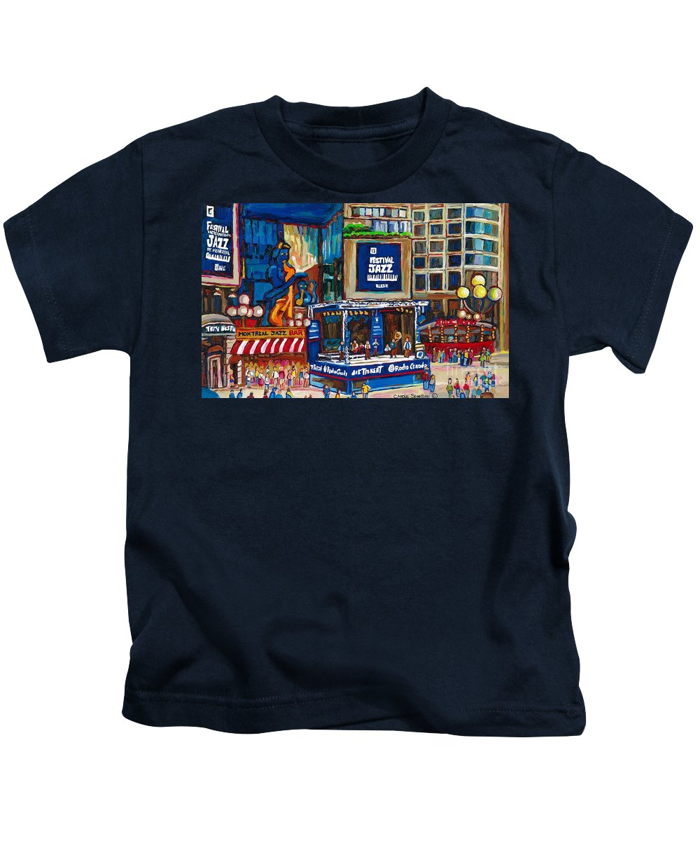 Montreal Kids T-Shirt featuring the painting All That Jazz by Carole Spandau