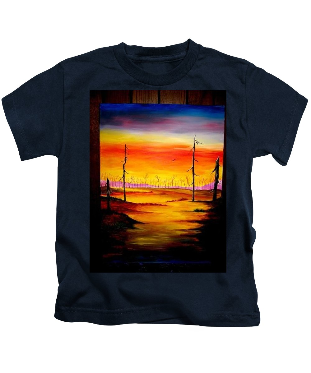 Landscape Kids T-Shirt featuring the painting Alone by Glory Fraulein Wolfe