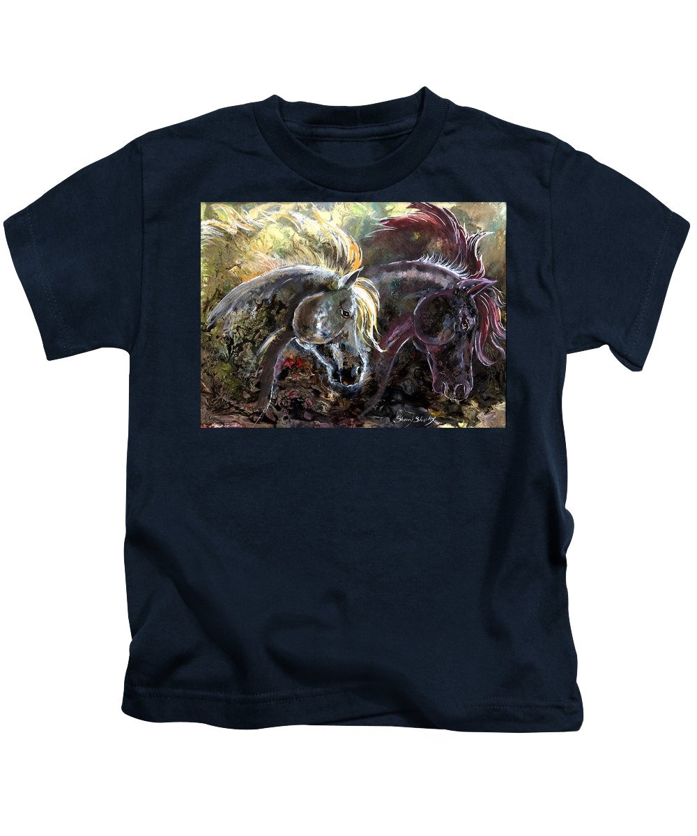 Horse Kids T-Shirt featuring the painting Alter Ego by Sherry Shipley