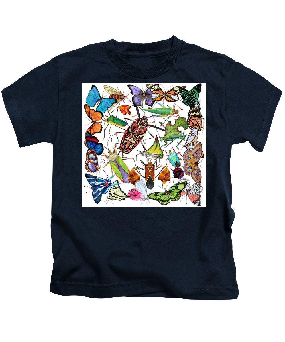 Insects Kids T-Shirt featuring the painting Amazon Insects by Lucy Arnold