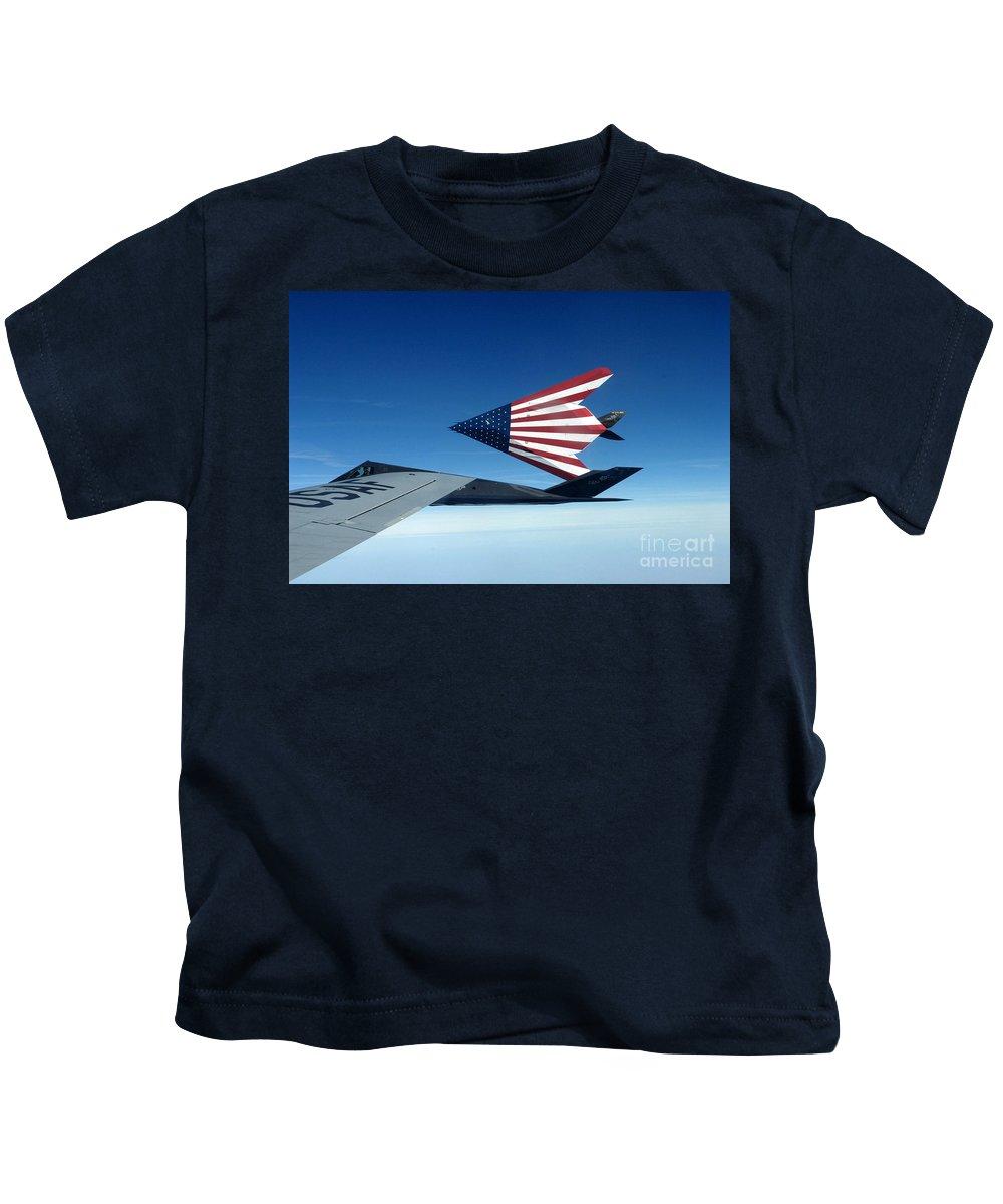 American Flag F 117 Nighthawks Kids T-Shirt featuring the photograph American Flag F 117 Nighthawks by R Muirhead Art
