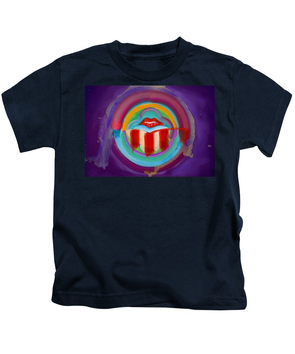 Button Kids T-Shirt featuring the painting American Kiss by Charles Stuart