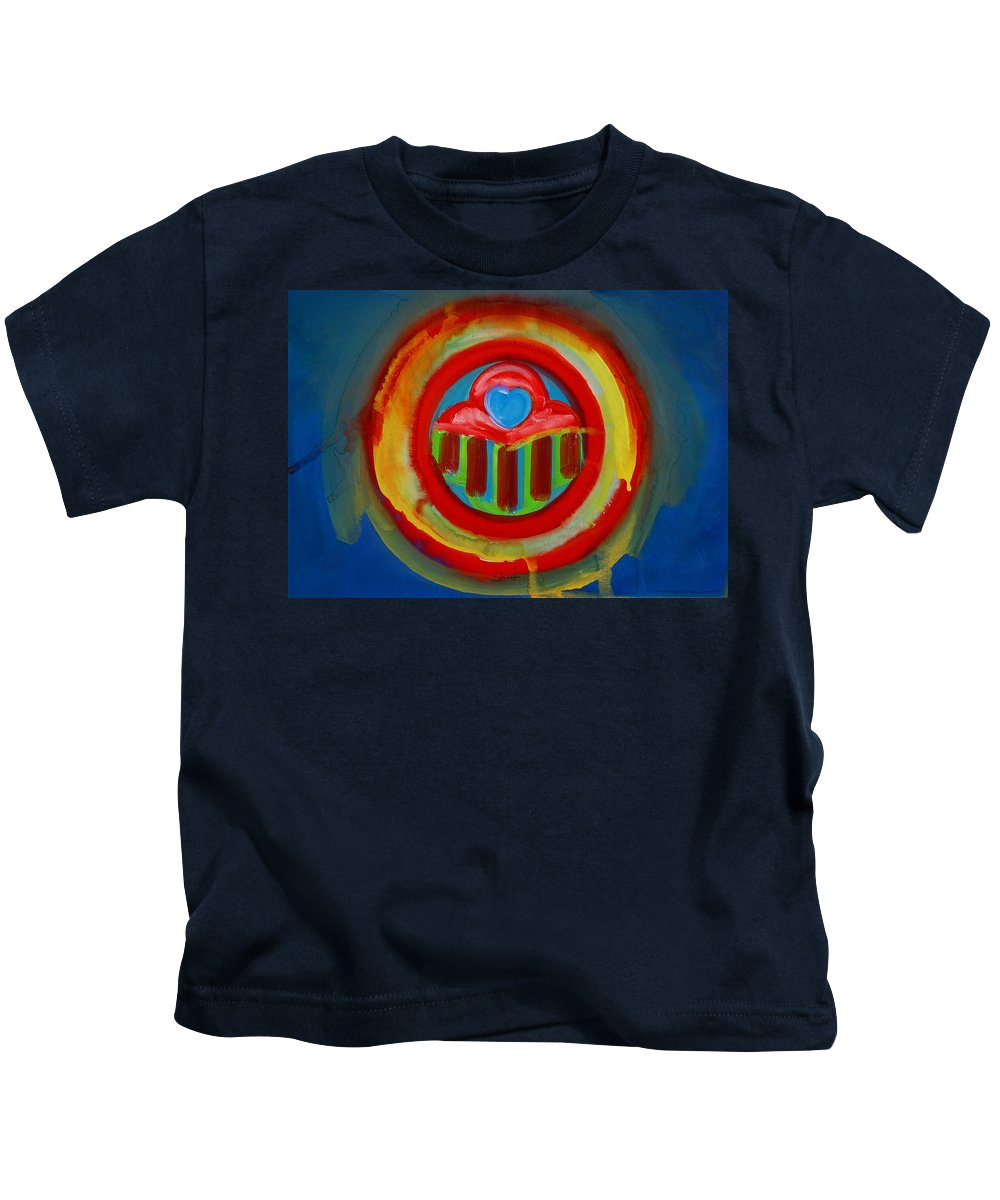 Button Kids T-Shirt featuring the painting American Love Button by Charles Stuart