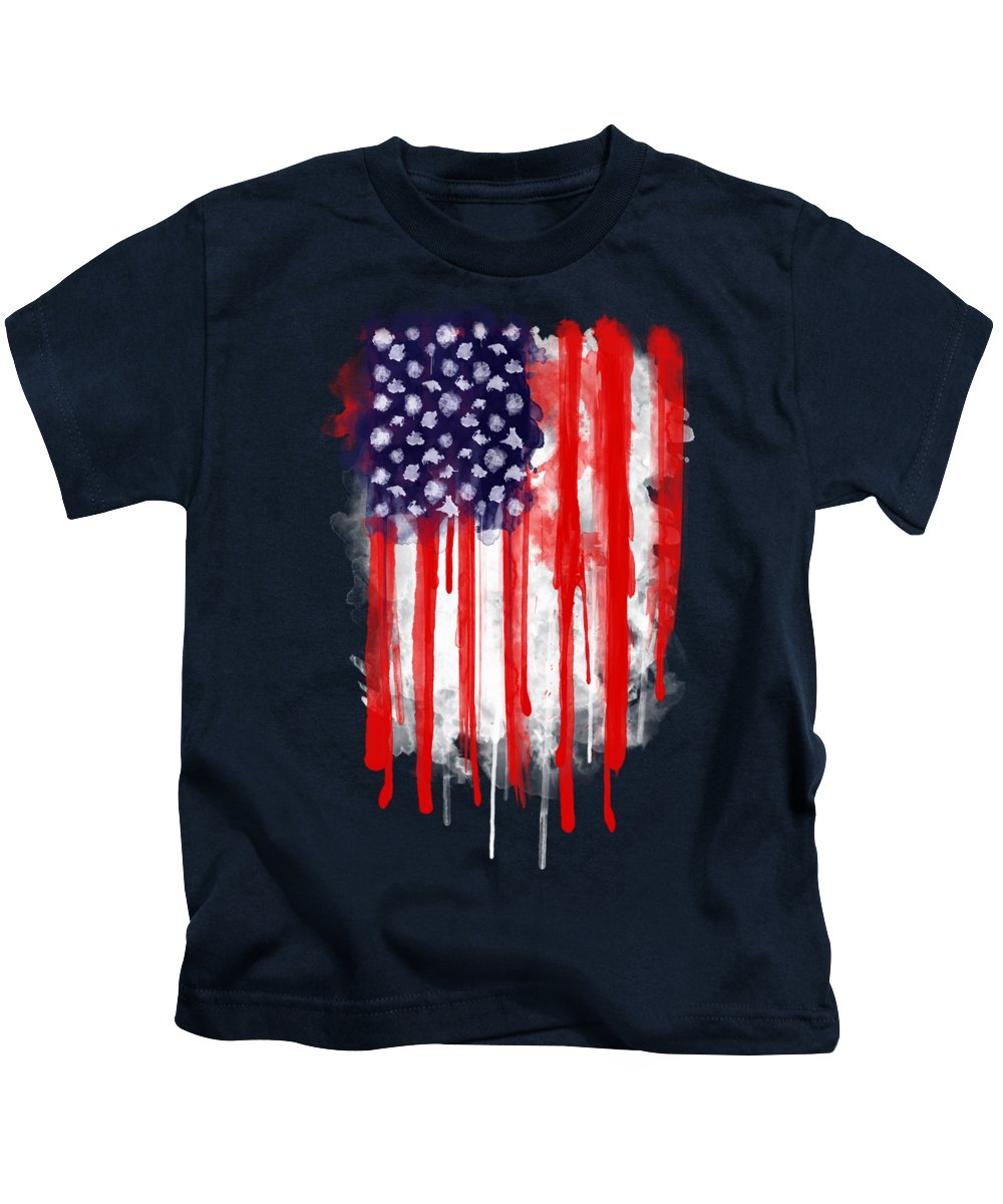 America Kids T-Shirt featuring the painting American Spatter Flag by Nicklas Gustafsson