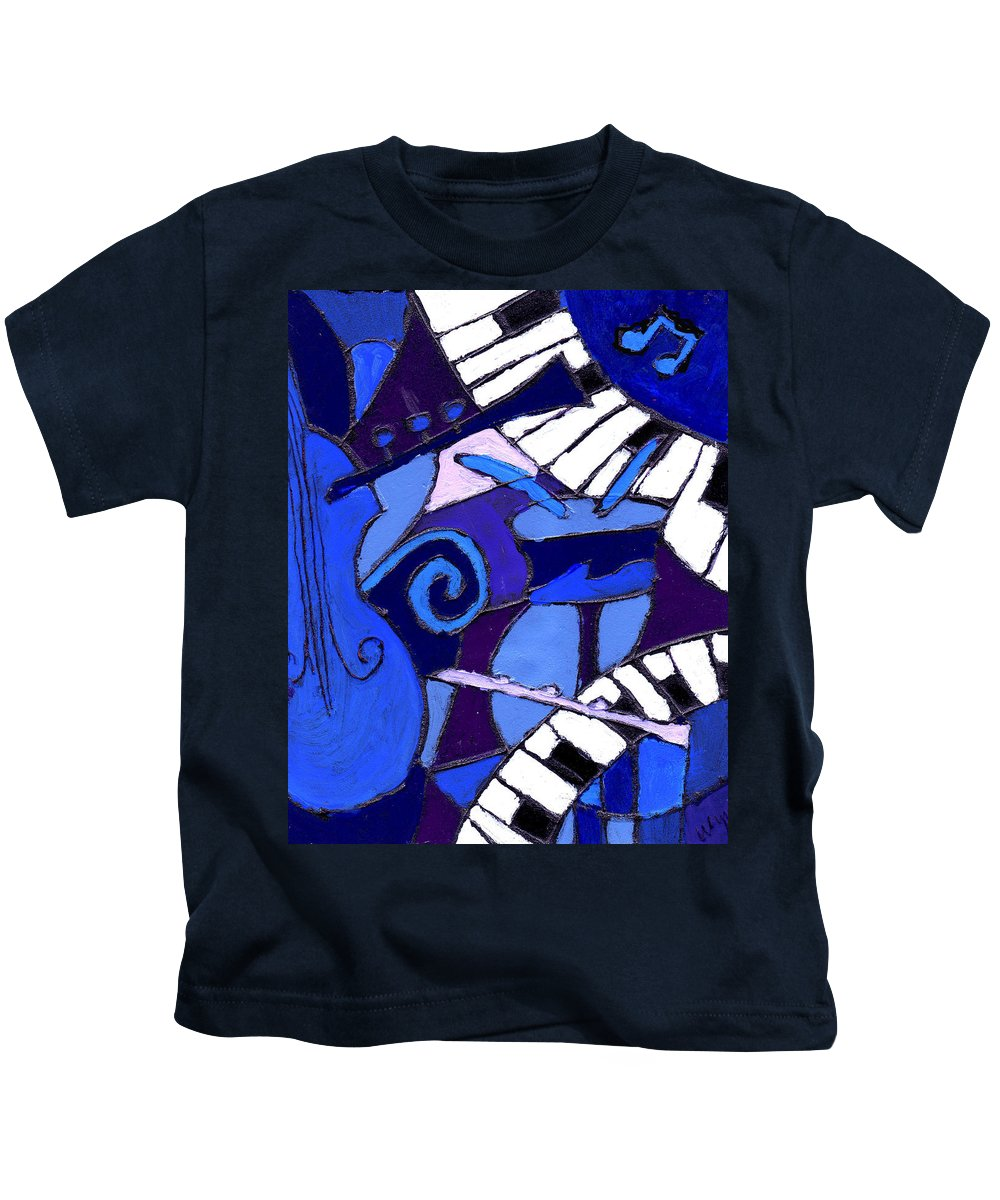 Blues Kids T-Shirt featuring the painting and All that Jazz 3 by Wayne Potrafka
