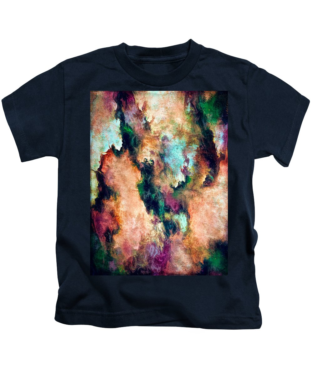 Digital Painting Kids T-Shirt featuring the digital art Angels And Demons by Debbie Smith