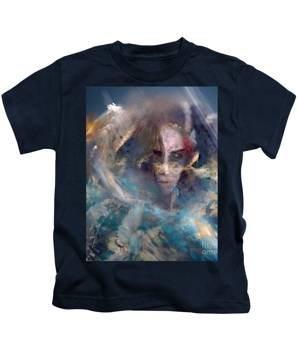 Angels Kids T-Shirt featuring the painting Angels We Invite You Here by Freddy Kirsheh