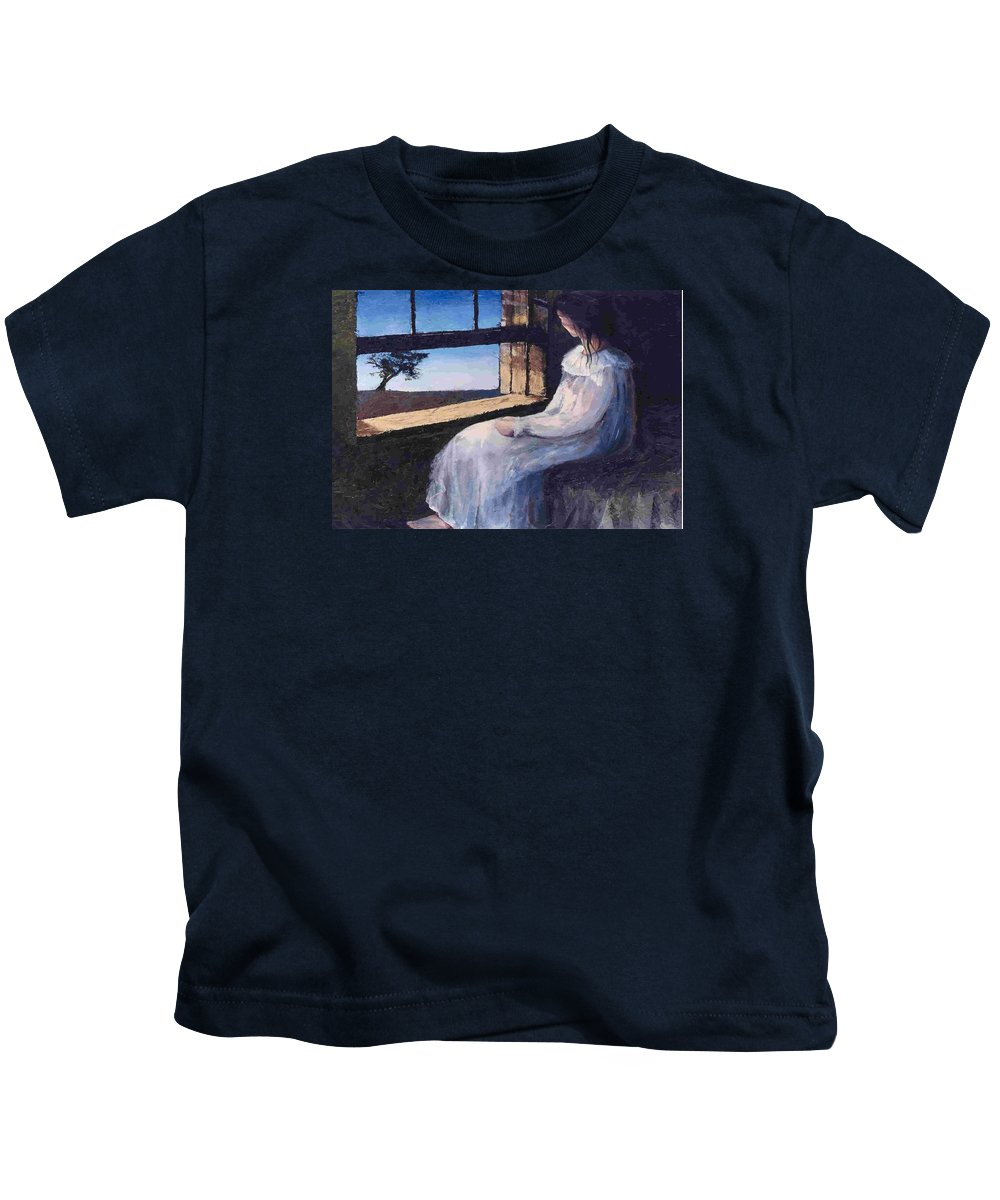 Woman In Window Kids T-Shirt featuring the painting Another Sleepless Night by Janet Lavida