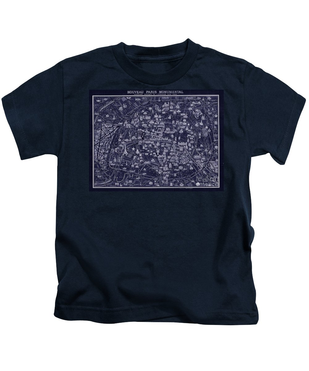 Restored And Altered Antique 1920 Pocket Map Of Paris Done In A Blueprint Style. Kids T-Shirt featuring the drawing Antique French Pocket Map Of Paris Blueprint Style by Tina Lavoie
